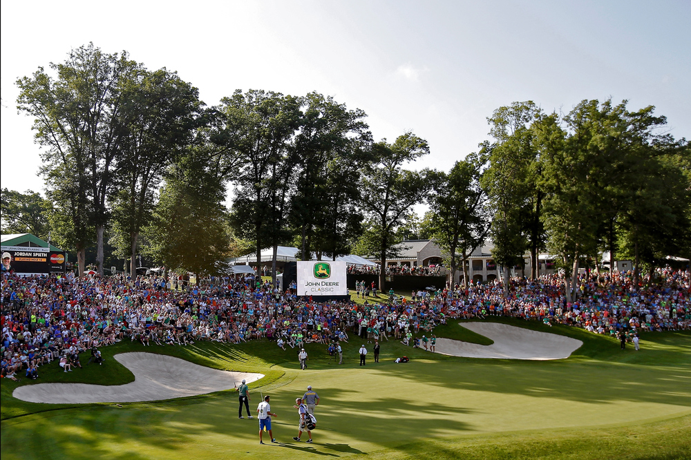 The scene at the 18th at TPC Deere Run.