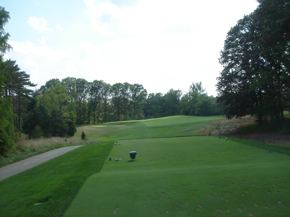 The tee shot to the redan 15th at Camargo