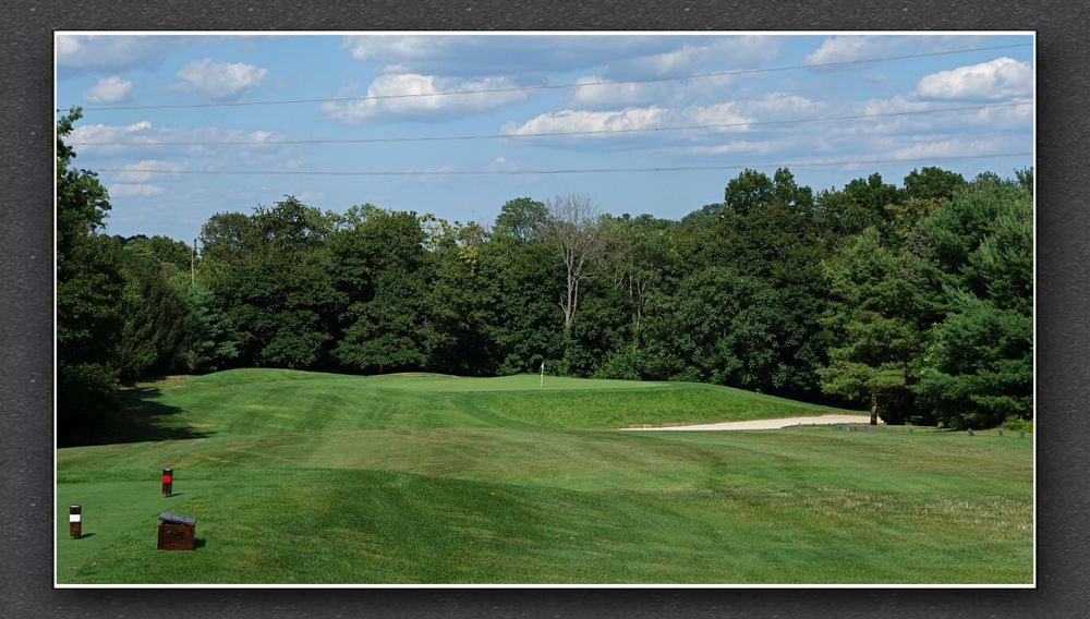The long-iron tee shot at the 7th at Charles Banks' Forsgate. Photo Credit: The Bausch Collection at  MyPhillyGolf.com