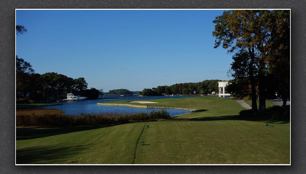 The tee shot at the 18th at Charles Banks' Cavalier. The Bausch Collection at  MyPhillyGolf.com