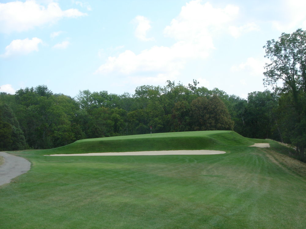 A closer look of the sloping green at Camargo's 11th.