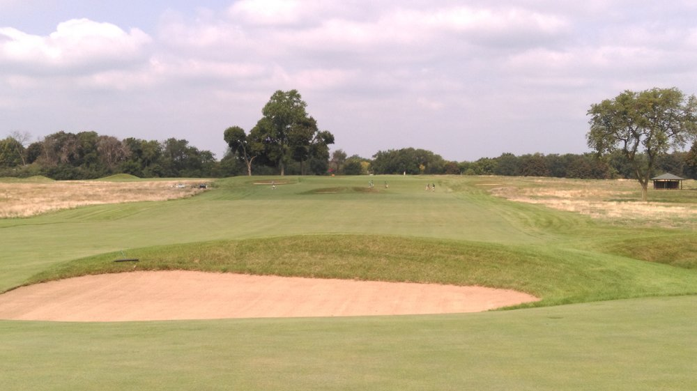 The second shot to the double plateau 6th at Chicago Golf Club.