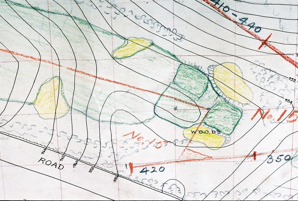 A sketch of Lookout Mountain's double plateau green.