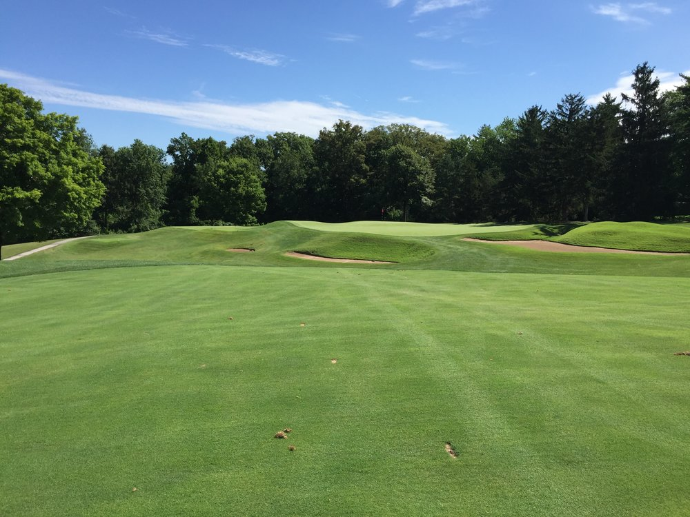The approach to the double plateau 6th green at St. Louis C.C. Photo Credit: Kyle Truax  @TheTruArchitect