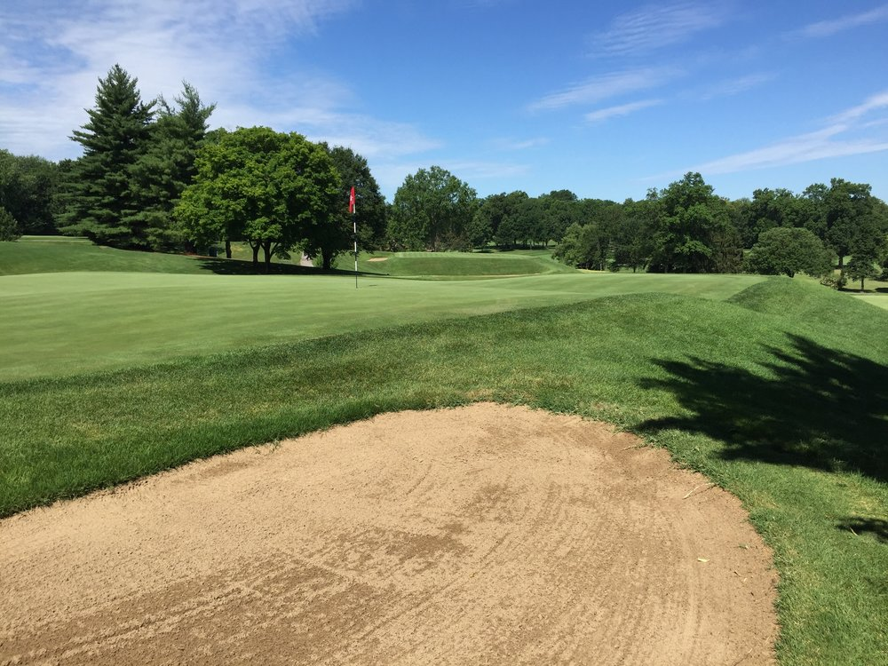 A look at the 6th green and also the short hole 7th at St. Louis C.C. Photo Credit: Kyle Truax  @TheTruArchitect