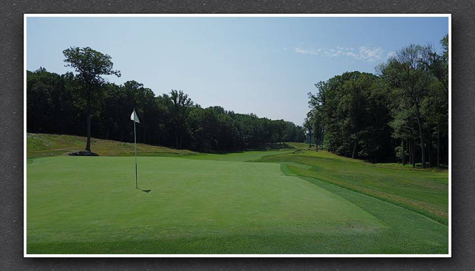 The back of the 12th, a double plateau green at Sleepy Hollow. Photo Credit: The Bausch Collection at  MyPhillyGolf.com