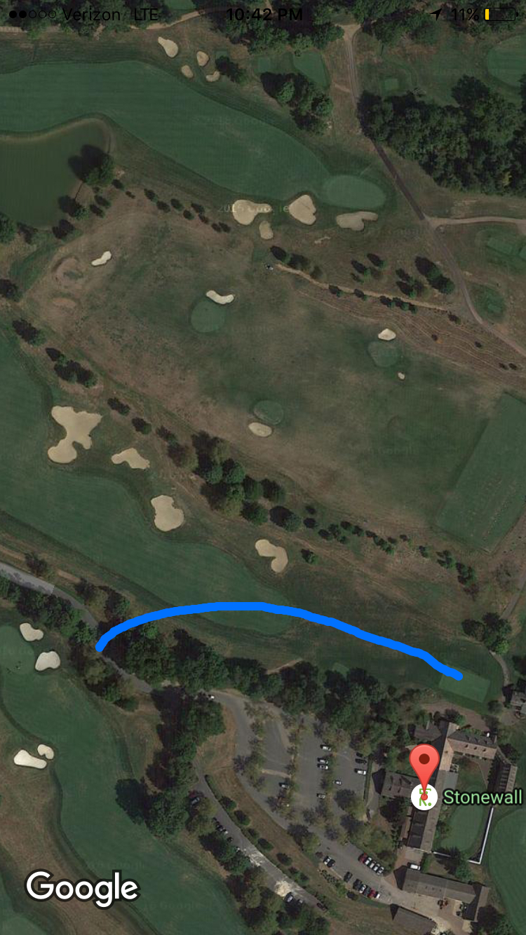 An approximate shot tracker of my snap hooked tee shot on the 1st hole at the Old Course.