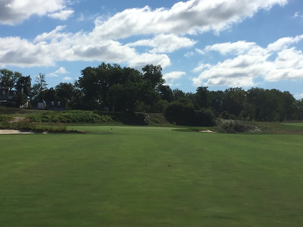 The approach shot to the par 5 8th.