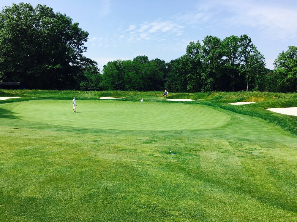 A side view of the newly restored punchbowl green at Morris County's 7th. Photo Credit:  Spencer Waresk