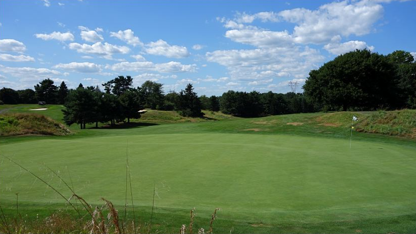 The look from behind the punchbowl green at Forsgate. Photo Credit: The Bausch Collection at  MyPhillyGolf.com