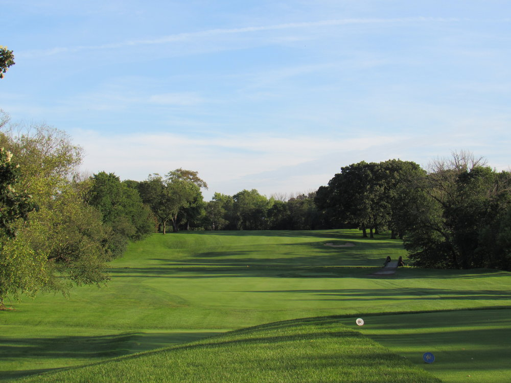 Flossmoor C.C.'s 12th tee shot.
