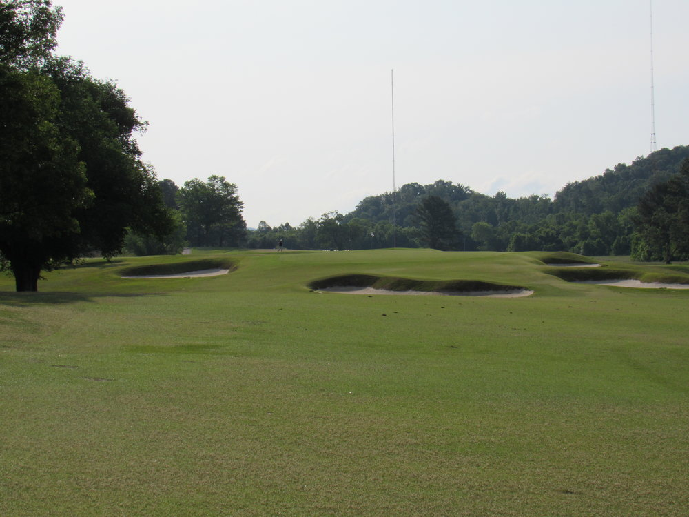 The approach to the plateau 6th green.