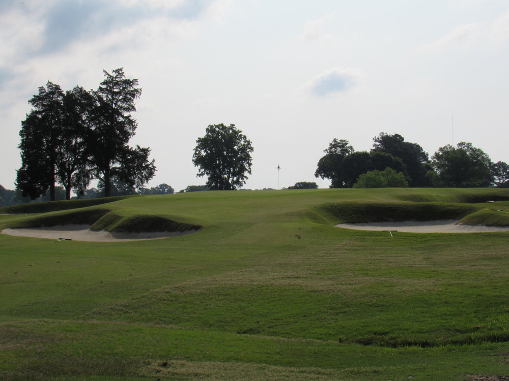 A closer look at the 6th green and its spectacular bunkering.