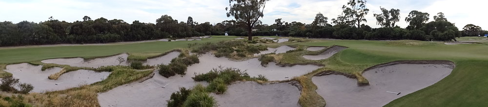 The bunkering between the 14th and 15th holes at Kingston Heath