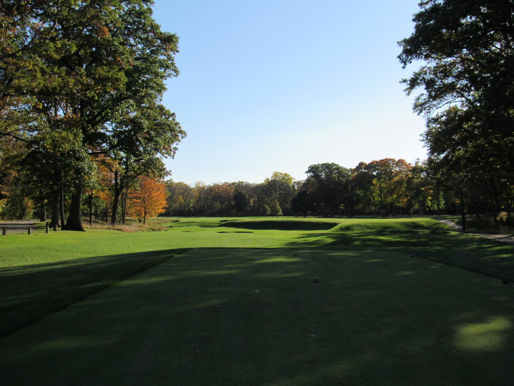 The second tee shot at Shoreacres, a cape hole.