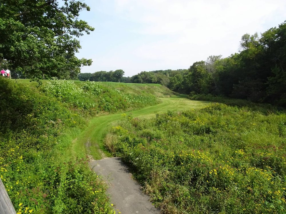 The view of the ravine as you walk across the bridge on the 11th hole.