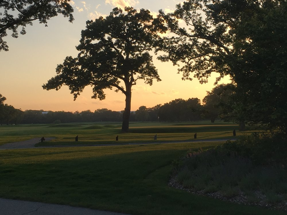 The 9th green at sunset