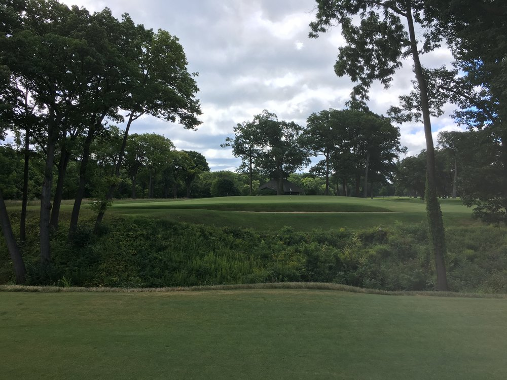 A look at the redan 14th from 13 fairway