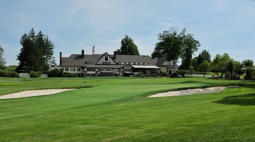 The view from right of 9 green shows the beautiful clubhouse at Rolling Green. Photo Credit:  @linksgems