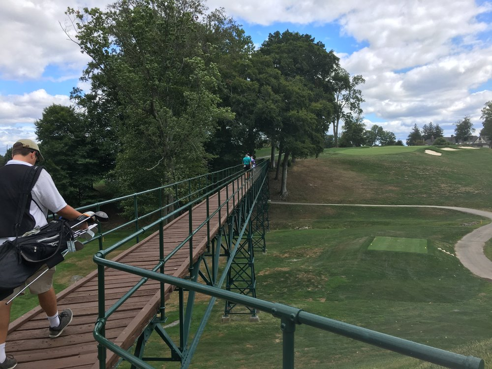 The beautiful famed bridge to the 14th green.