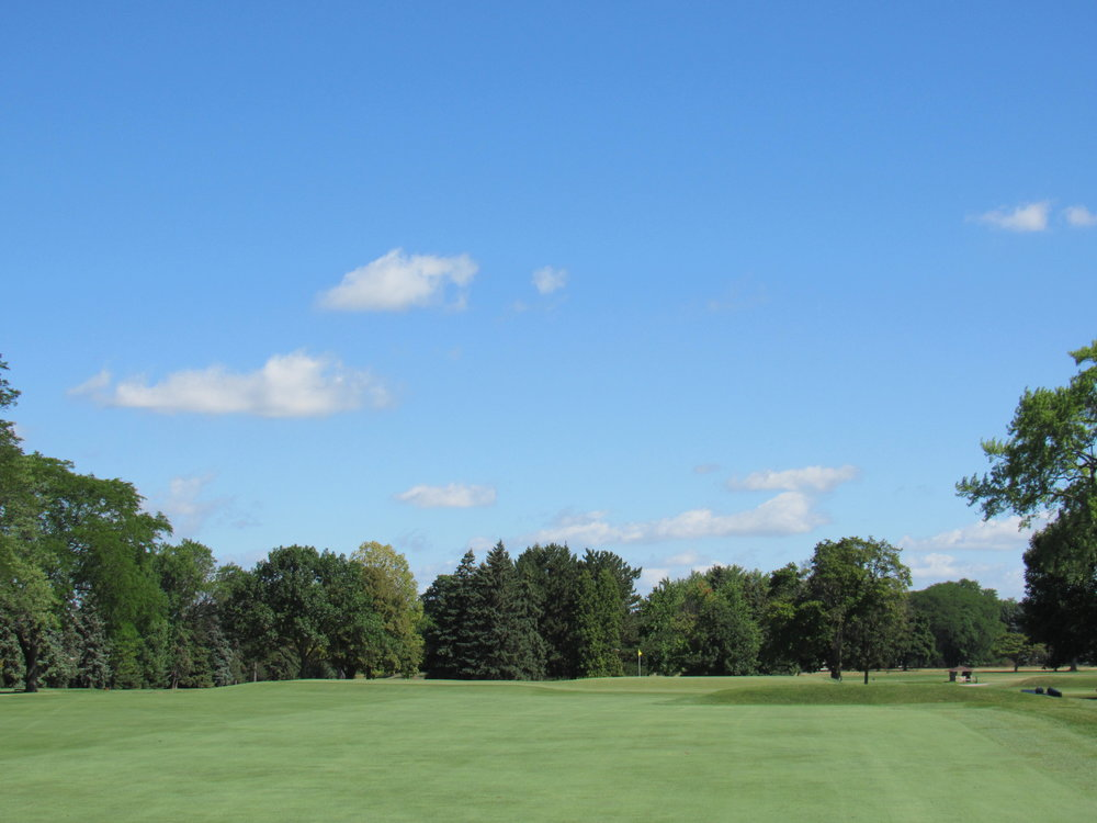 The approach to the 2nd hole at Blue Mound a double plateau green.