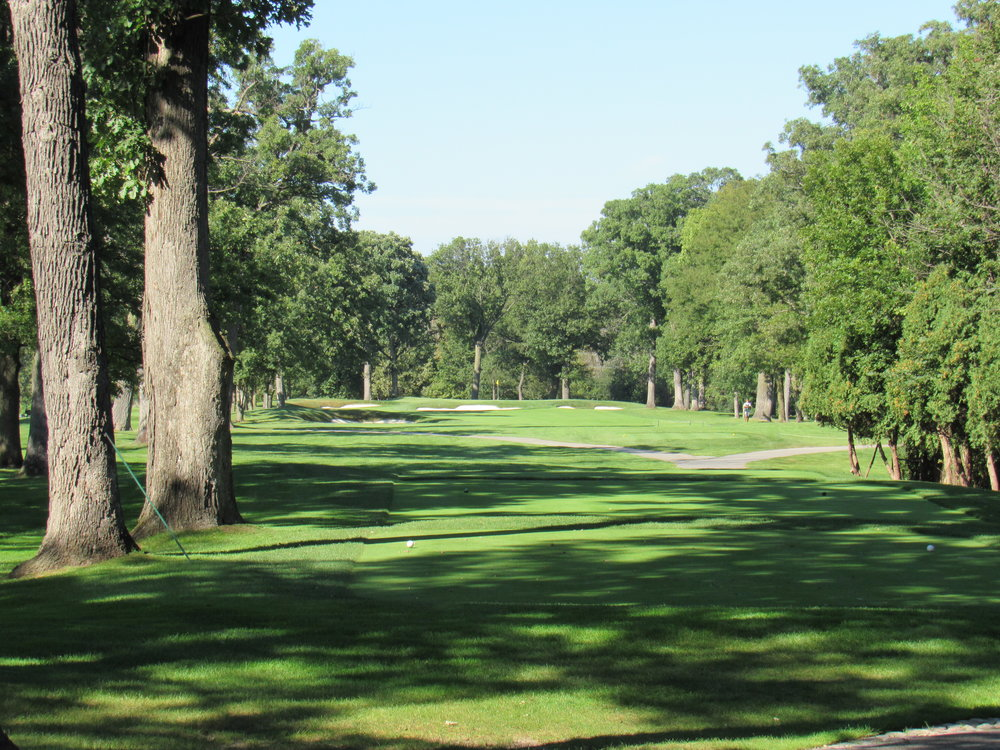The tight 5th tee shot at Olympia Fields.