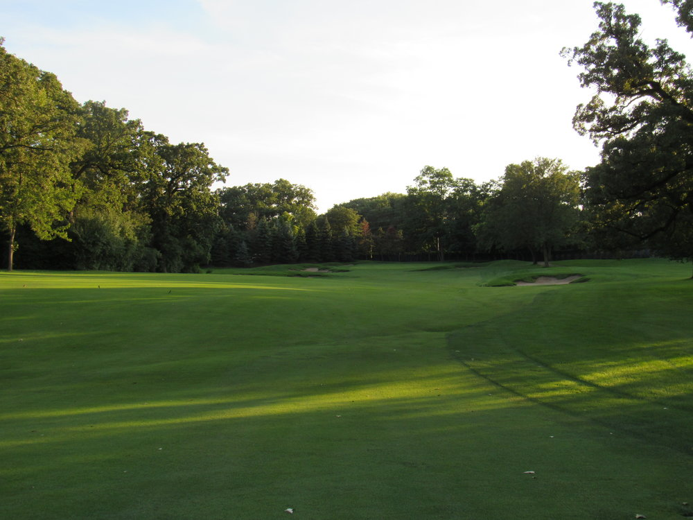 The sloping fairway at Flossmoor's 14th.