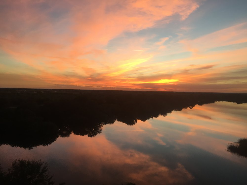 The sunset from Streamsong's rooftop bar