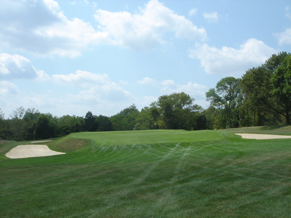 The built up 8th green at Camargo.
