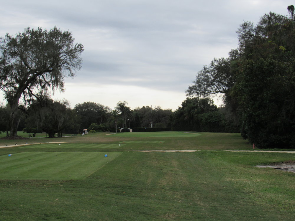The 5th tee shot at Mountain Lake.