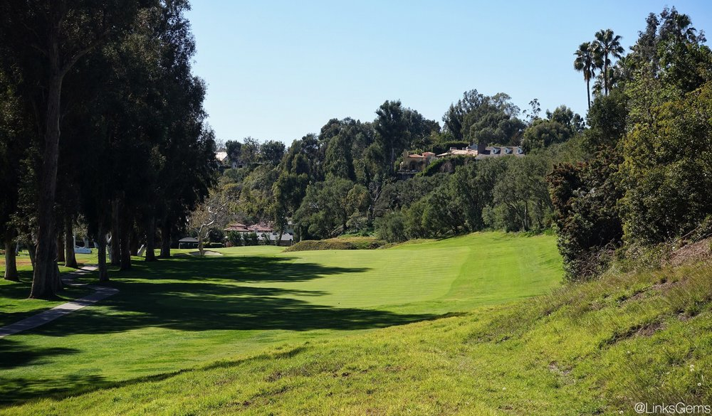 The 5th tee shot at Riviera. Photo Credit: Jon Cavalier @linksgems