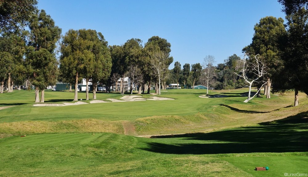 The 7th tee shot at Riviera. Photo Credit: Jon Cavalier @linksgems