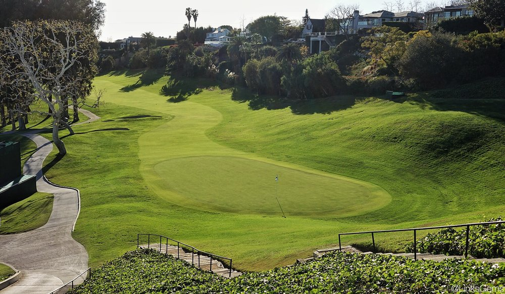 Looking back from the hill at the beautiful 18th. Photo Credit: Jon Cavalier @linksgems