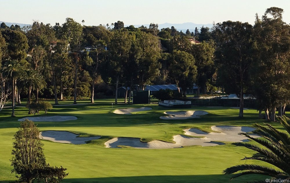 The divisive 10th hole at Riviera. Photo Credit: Jon Cavalier @linksgems
