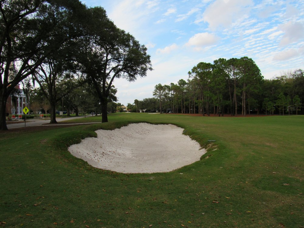 The gash bunker on the left hand side of the fairway.
