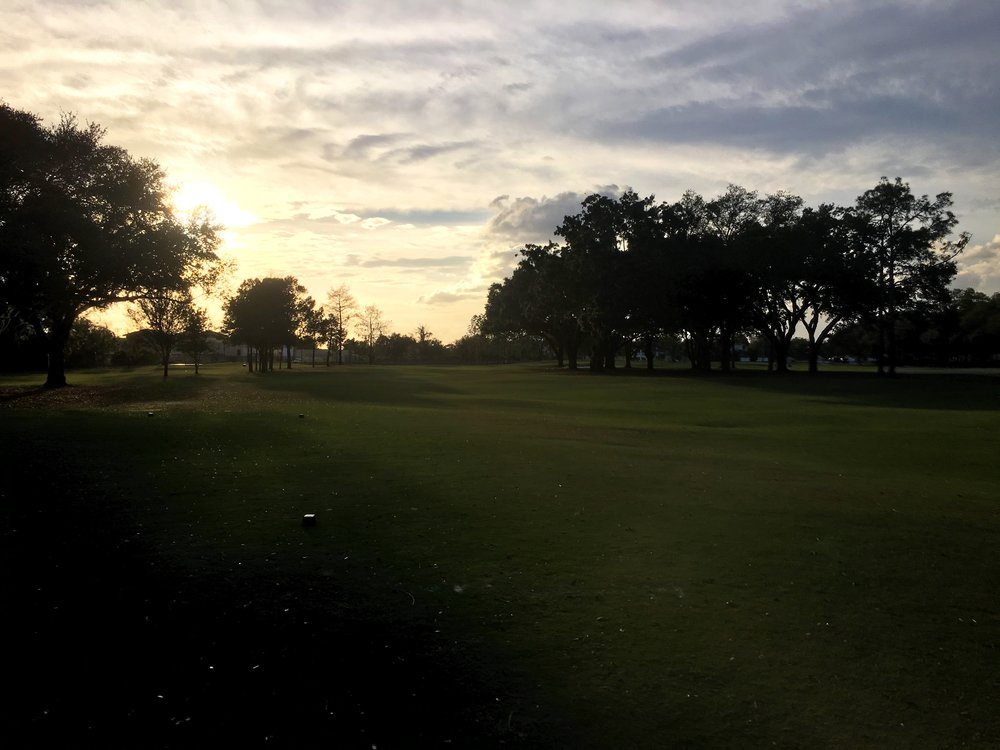 The sixth tee shot at Winter Park.