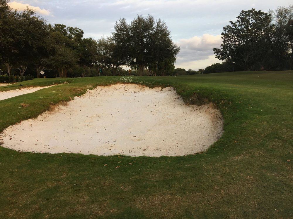 The deep bunkering at the 8th green.