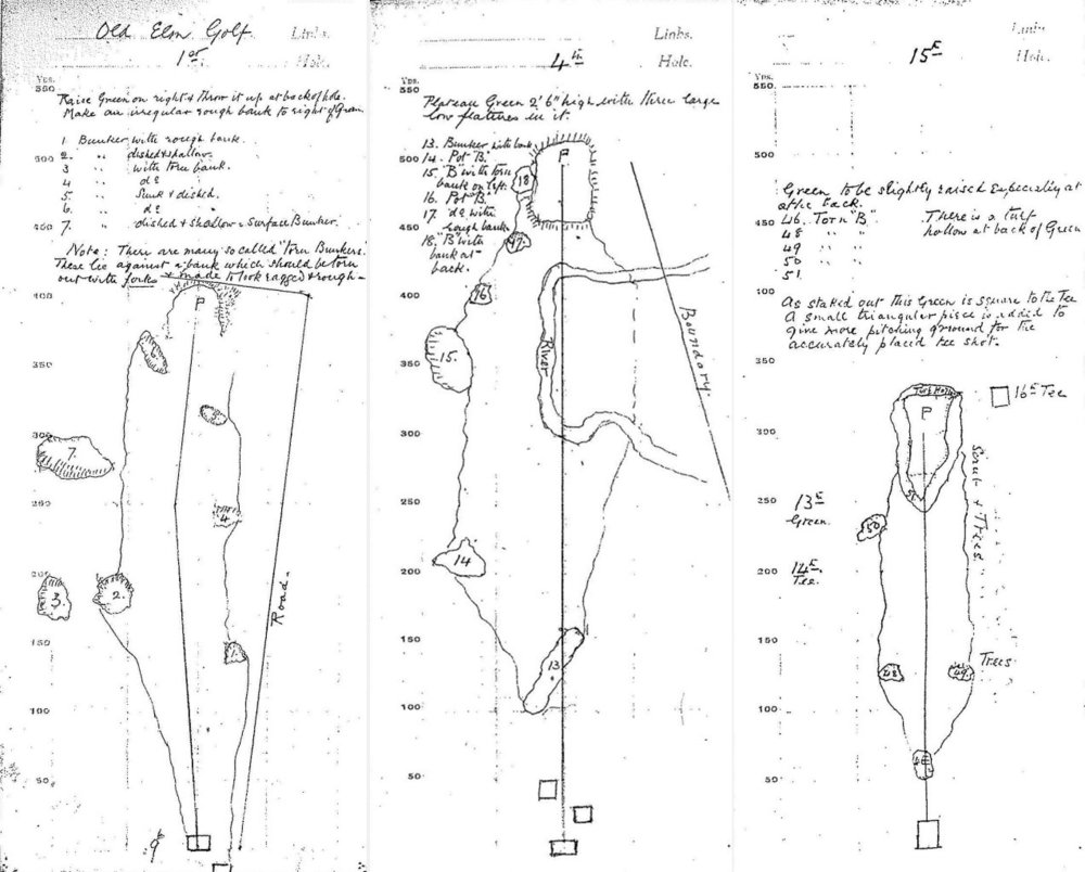 Construction plans prepared by Harry Colt for Old Elm Club – Holes 1, 4 and 15.
