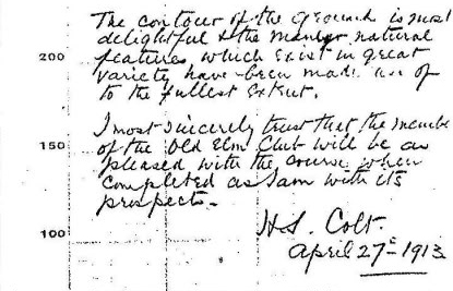 Handwritten note from Harry Colt