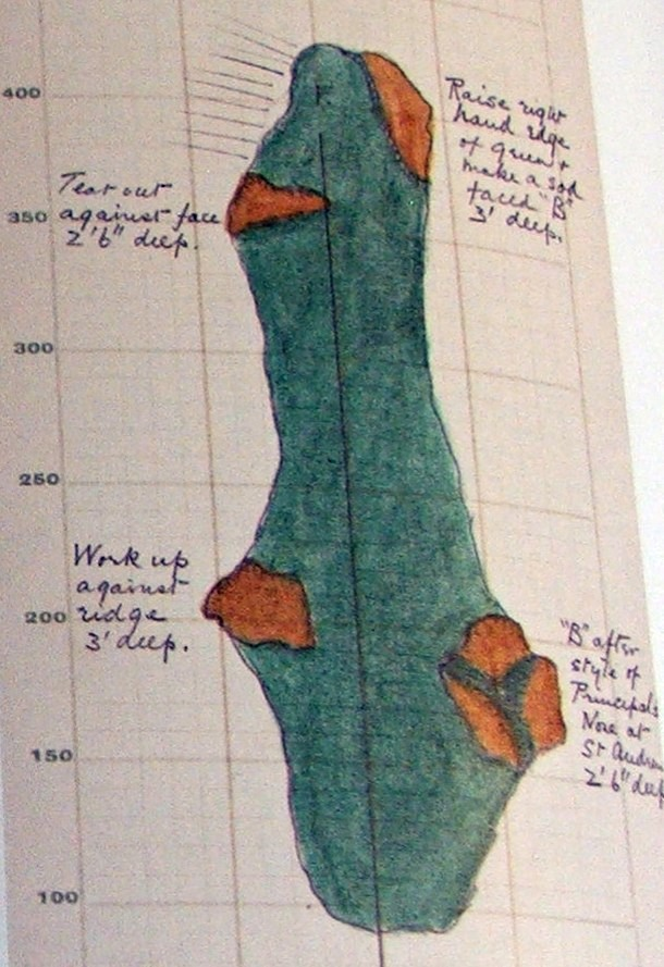 Harry Colt's sketch of the 9th hole at Pine Valley. Photo Credit: Simon Haines