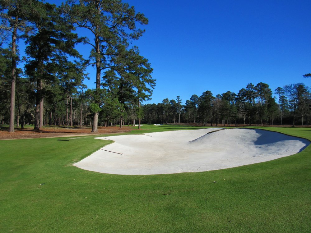 The deep fairway bunker which dictates the tee shot.