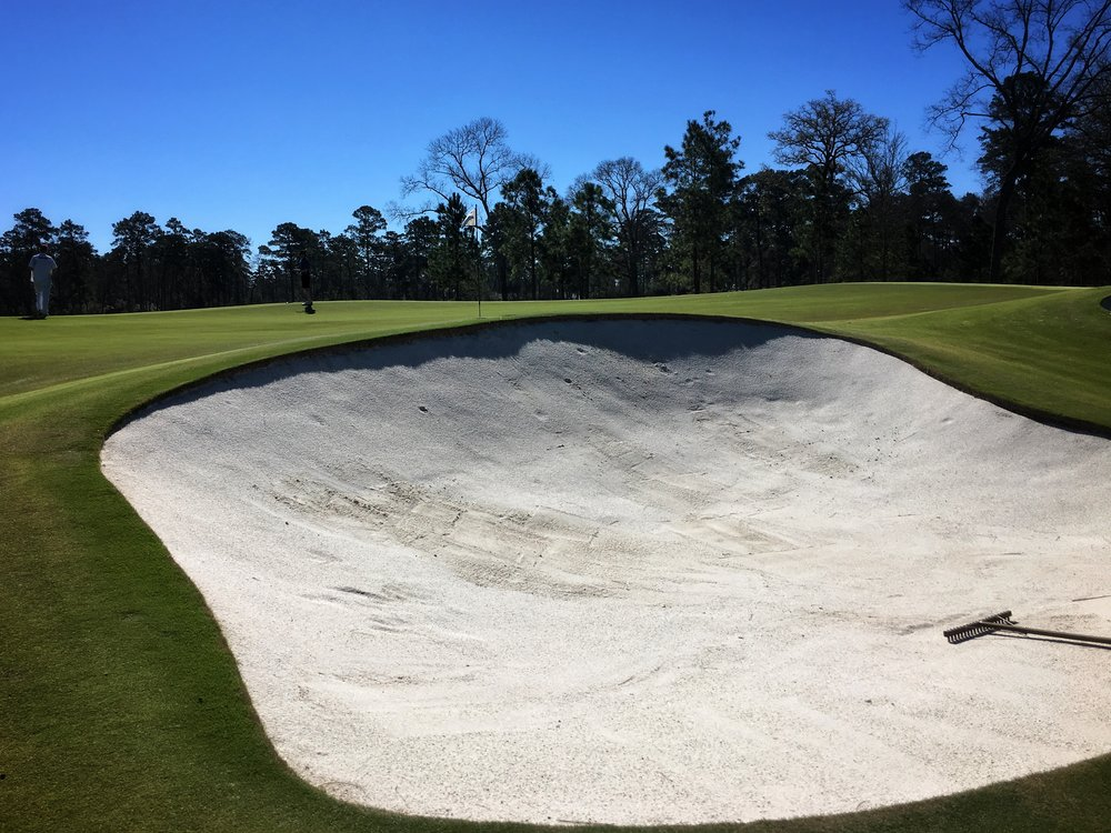 One of the deep greenside bunkers at the 6th.