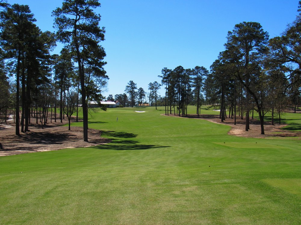 The 9th tee shot at Bluejack