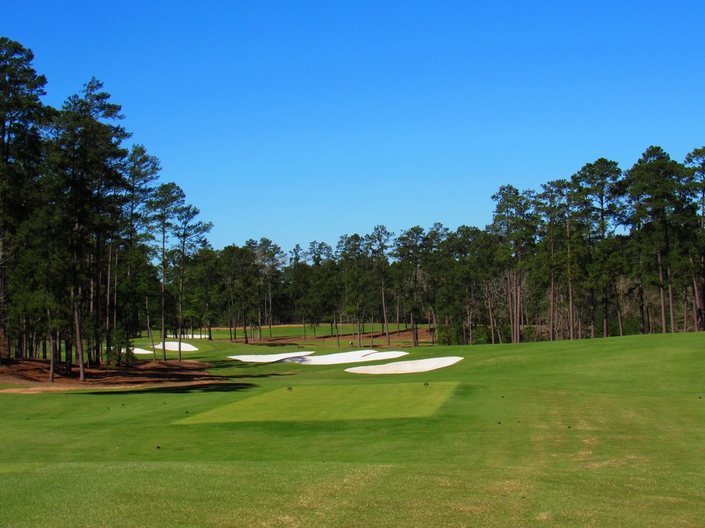 The 10th tee shot at Bluejack National