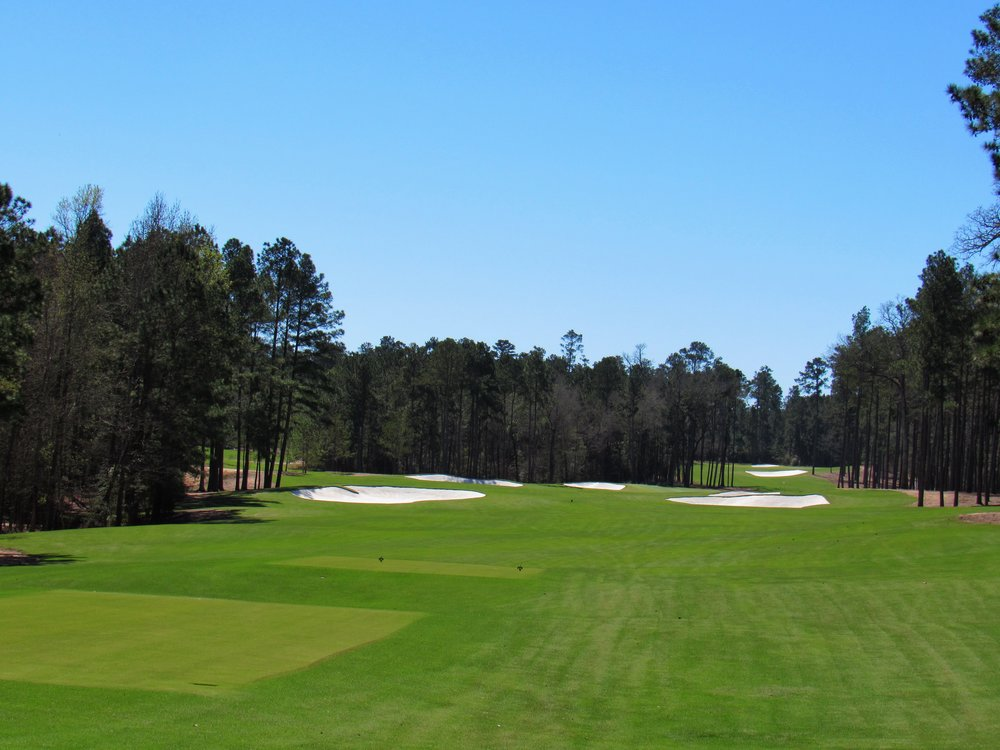The 13th tee shot at Bluejack