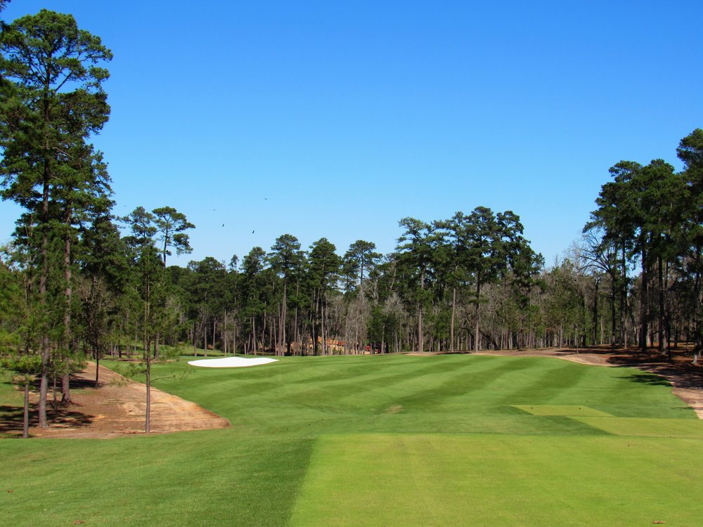 The 16th tee shot at Bluejack.