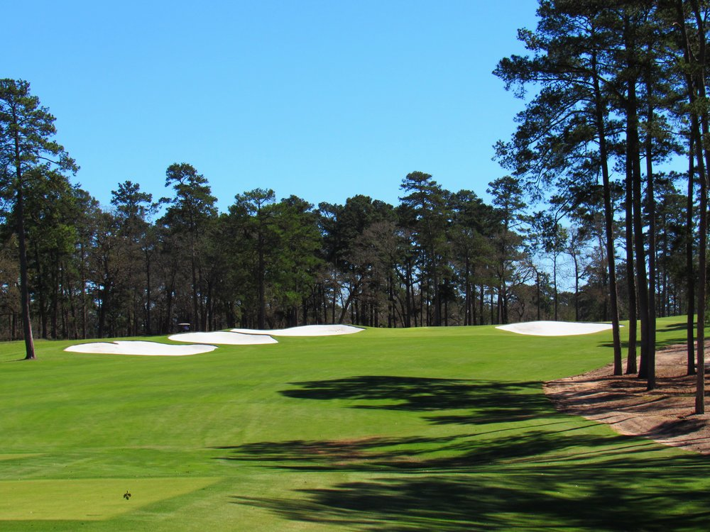 The 17th tee shot at Bluejack