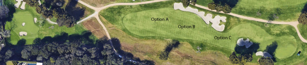 The different options off the tee at the great par 4 7th at Riviera
