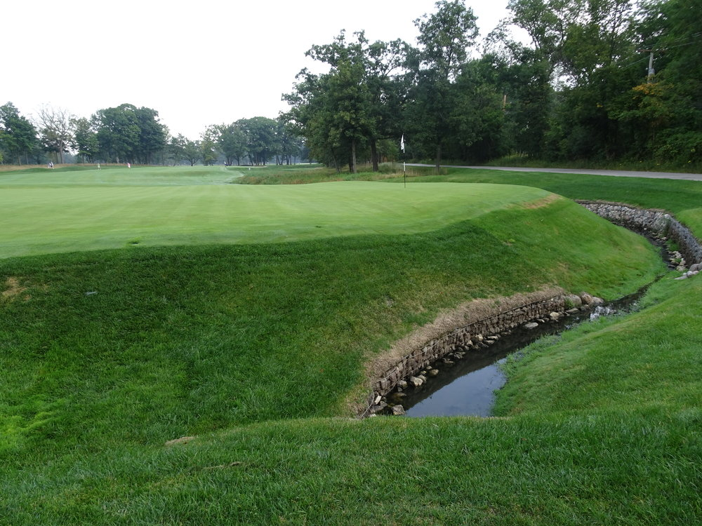 The small creek at Shoreacres 2nd hole affects tee shots and approaches