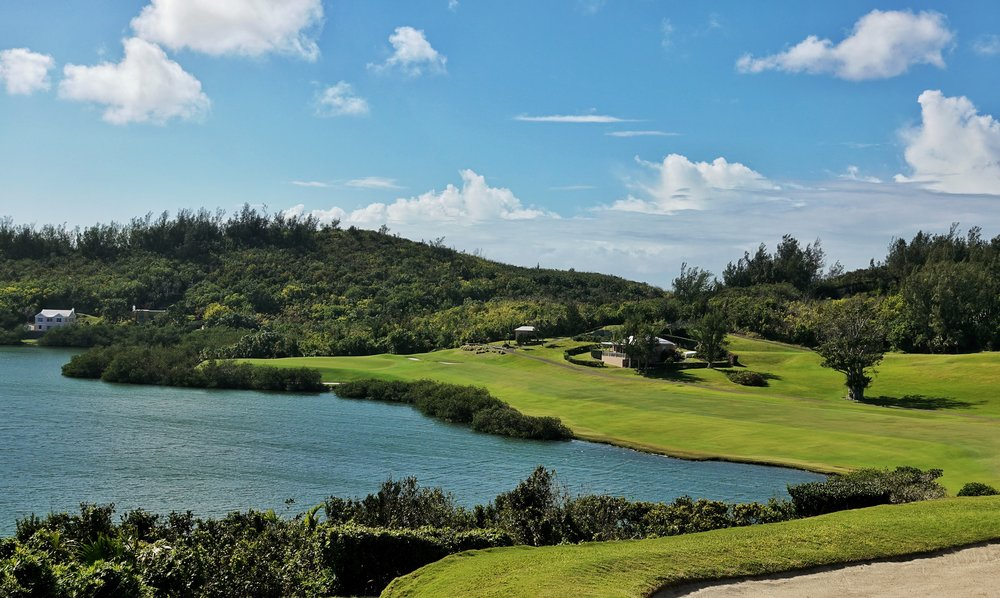 The tee shot at the Mid Ocean's 5th is one of the greatest uses of water hazard Credit: @linksgems